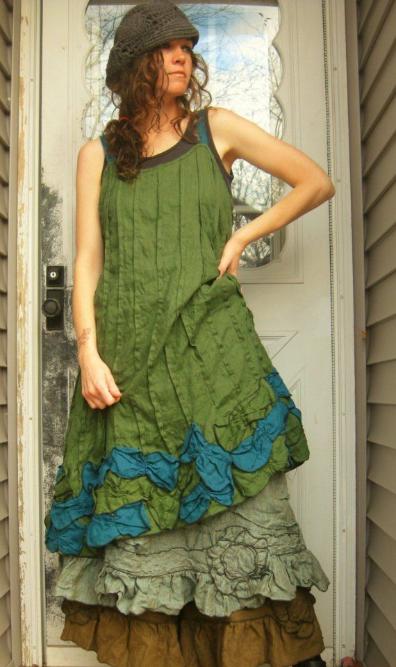 Green and Teal Linen Petals Dress L by sarahclemensclothing