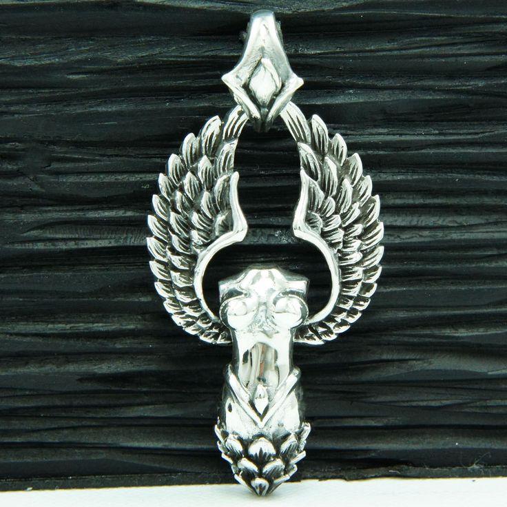 ANGEL OF LUST 925 STERLING SILVER BIKER GOTHIC PENDANT bub-030 #Handmade