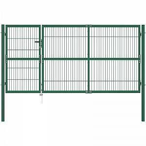 Vidaxl Gartenzaun Tor Mit Beitragen 350x140 Cm Stahl Grun In 2020 Fence Gate Garden Fence Steel Fence