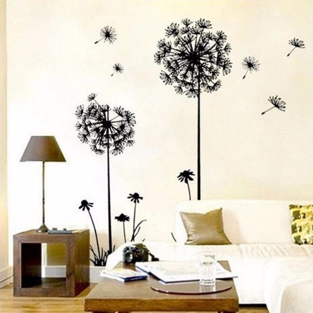 Väggdekor Blommor Svarta