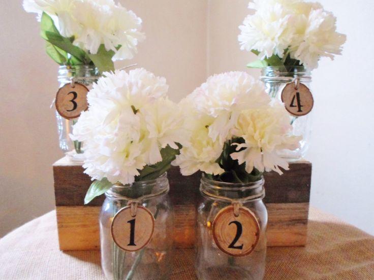 Mason Jar Centerpiece, Table Decoration, Wedding Numbers, Wedding Rustic, Barn Wedding, Barn Wedding Decor. $60.00, via Etsy.