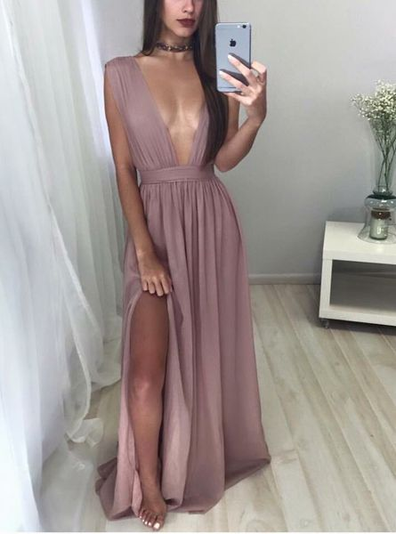 Sexy deep V-neck long prom dress,evening dress