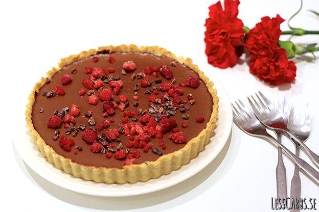 """Detta är en variant av mitt populära recept """"superenkel chokladdessert"""". Istället för att servera i glas som jag brukar har jag fyllt ett krispigt pajskal med den! Blev väldigt bra. Känns som en lyxig dessert, som är väldigt tacksam eftersom den är enkel att göra och går att förbereda innan! Till en paj ca 24 cm: En sats pajskal till söta pajer 170 g mörk choklad, minst 70 % jag använder 85 % (detta är 20 gram extra mot originalreceptet, tänkt för penslingen av pajskalet,…"""