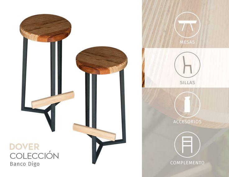 Banco para barra con asiento de madera recompuesta patas for Medidas banco cocina
