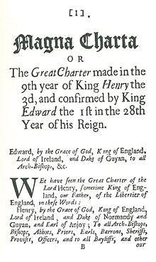 Magna Carta — Première page du facsimilé de L'Excellent privilège de la Liberté et de la Propriété publié en 1687 par William Penn.