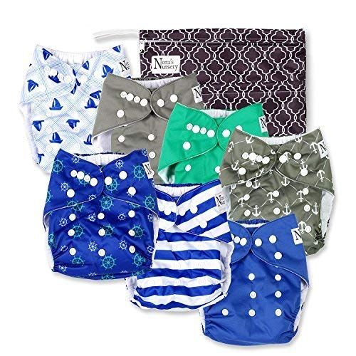 7 Bamboo Inserts 1 Wet Bag by Nora/'s Unisex Baby Cloth Pocket Diapers 7 Pack