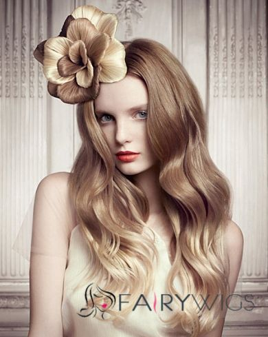 Hand Tied Lace Front Long Wavy Blonde Real Human Hair Wig