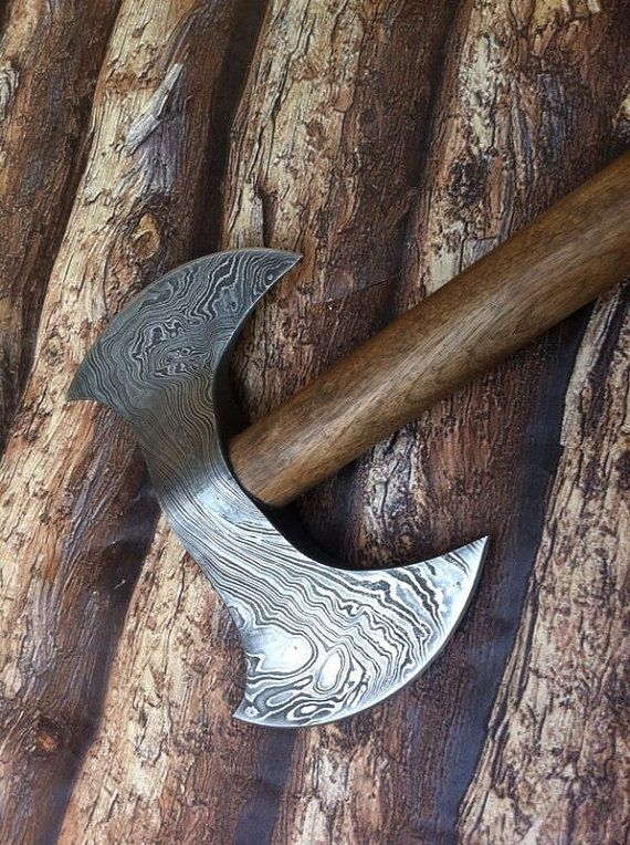 Hand Forged Custom Made Damascus Steel Viking by RoyalDamascus10