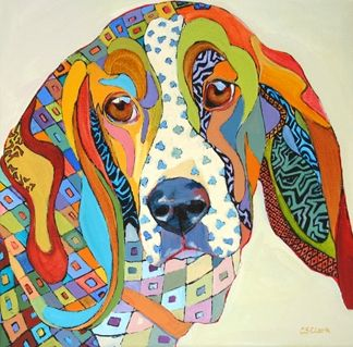Daily Painting, Sherlock, abstracted basset hound dog painting, painting by artist Carolee Clark