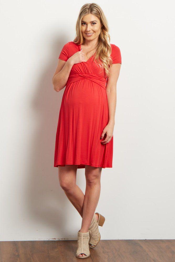 59d9950597b Red Draped Front Maternity Nursing Dress