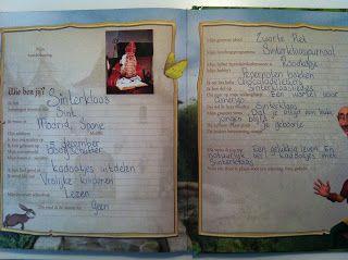 Sinterklaas in vriendenboekje | Ook leuk voor de bovenbouw schrijfoefening : een leeg blaadje uit een vriendenboekje. 'Wat zou Sinterklaas invullen?'