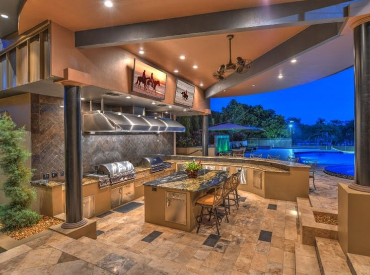Outdoor kitchen with commercial vent hood outdoor - Commercial kitchen vent hood designs ...