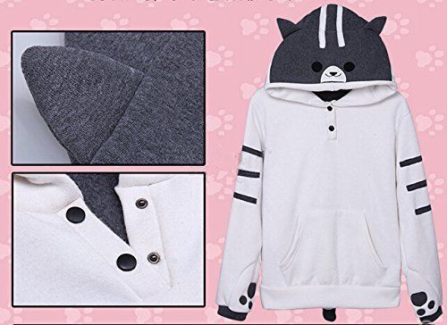 Japanese Game Neko Atsume ねこあつめ Cat Cute Coat Hoodie Sweater White b2 (XXL) by Nekoatsume