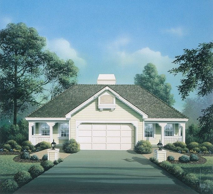 Eplans cottage house plan cost efficient duplex 844 for Building duplex homes cost