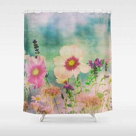 Shower Curtain,  Wild Flowers,  Modern Floral,  Fine Art Printed Shower Curtain,  Field of Flowers, Extra Long Shower Curtain Custom Bath
