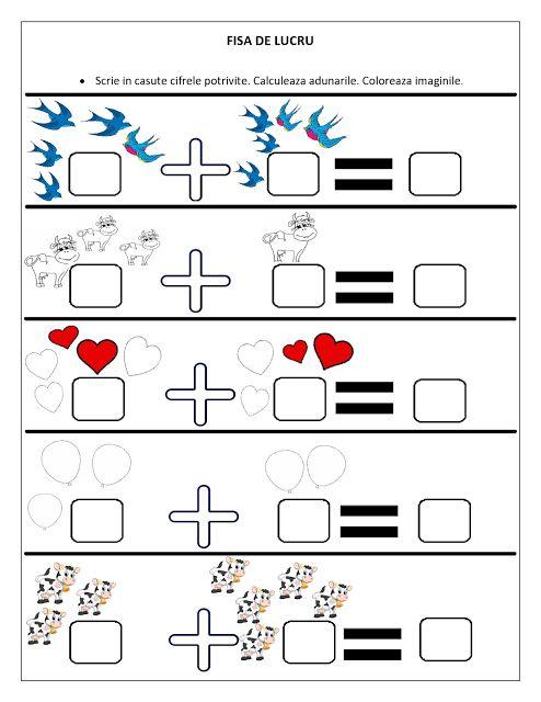 Planse de colorat si fise pentru copii: FISE de lucru cu adunari / Adunari pentru Clasa Pregatitoare