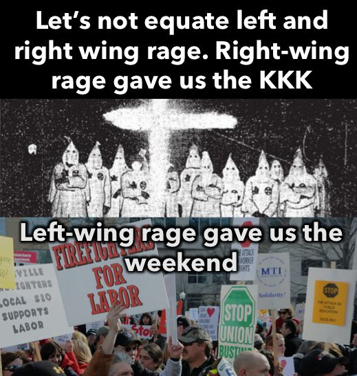 Left wing Weekends Right wing KKK