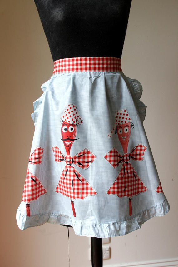 Vintage half apron/ pale blue cotton apron/ retro kitchen
