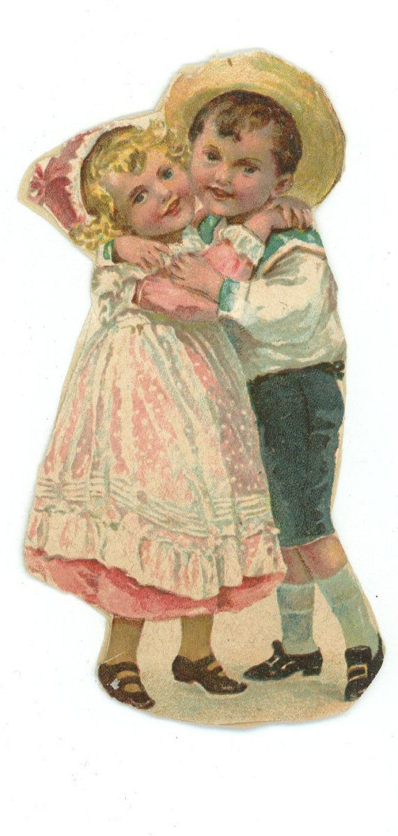 Victorian Lithograph Boy & Girl Children Hugging - Vintage Scrapbook Ephemera Love Romance