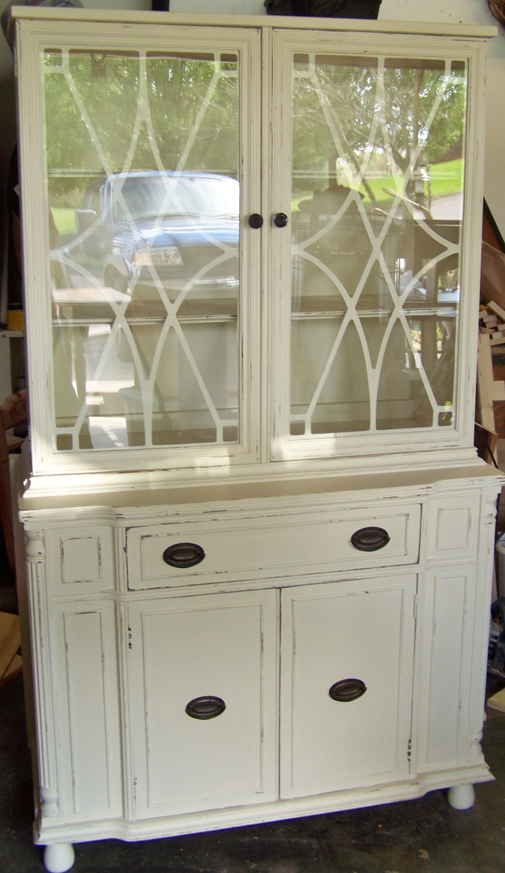 IVORY Distressed~1940's China Cabinet ChiC..sold In Less