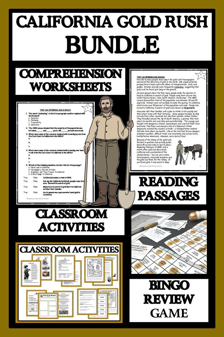 California Gold Rush Reading Comprehension Activities And Bingo In 2020 Reading Comprehension Reading Passages Reading Comprehension Activities