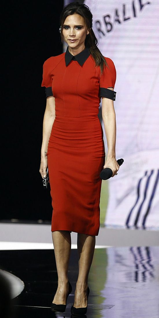 Beckham appeared on the China Central Television Show in a dress from her eponymous line: A body-hugging red short-sleeve midi with a contra...