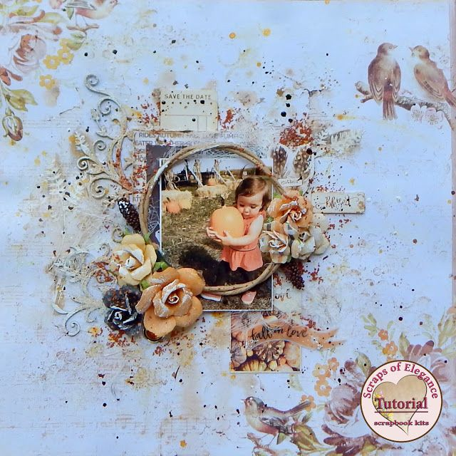 Scraps of Elegance scrapbook kits Video Tutorial: Mixed Media Fall Layout- A Sept. Falling Leaves Kit project by Sandi Clarkson. Blue Fern Studios Amber & Apricot