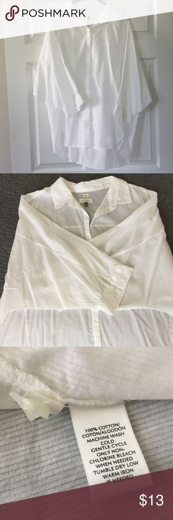 """Ann Taylor Loft The Softened Shirt in white Ann Taylor Loft The Softened Shirt in white. Semi Sheer 100% cotton button down shirt with dolman sleeves and shirt tail hem. This is like new- never worn- would be cute as a top tied up with jeans or even as a bathing suit cover up!  Size XXL- approx. measurements 30"""" long Front, 33"""" long in back.   CA 57421, RN 140923, Style 364867-  Machine Wash.   Non-Smoking/Pet Free Home. No Trades Please! Please message me with any questions!   Thanks for…"""