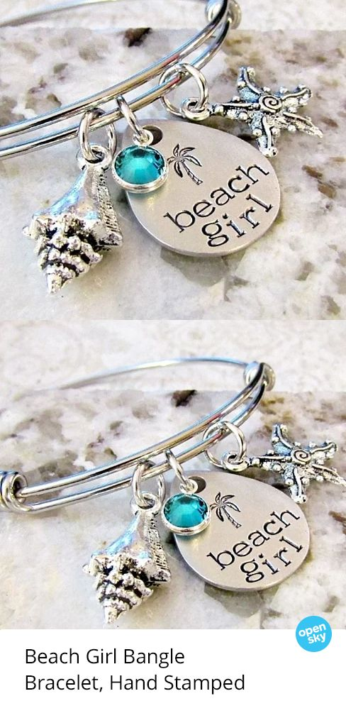 The perfect sea-inspired bangle to stack and showcase your signature style, it features a hand-stamped design, beautiful channel-set Swarovski crystal, and a unique Tibetan silver shell charm. Made of non-tarnishing stainless steel with an adjustable fit, it also makes for a lovely personal gift for your favorite beach lover.