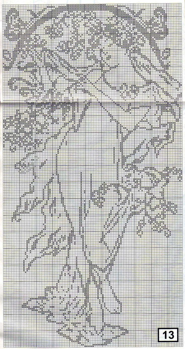 "Borduurpatroon Kruissteek Mucha *Embroidery Cross Stitch Pattern ~The Seasons 1896 ""Spring""-"