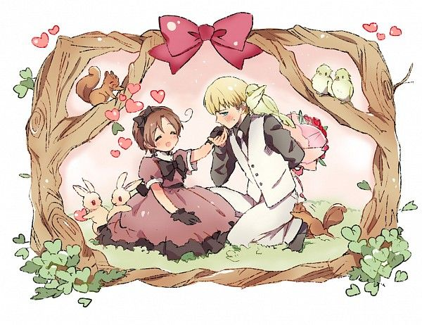 Hetalia - Little Italy and Holy Roman Empire : Valentines Day<<< italy looks so cute as a Girl <3