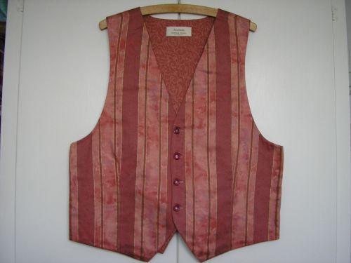 Pink Striped Mens Handmade Waistcoat 40 - 42