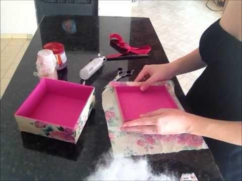Artesanato - Como Fazer Caixa de Madeira com Tecido Floral, Caixa de MDF Decorada YOUTUBE - YouTube