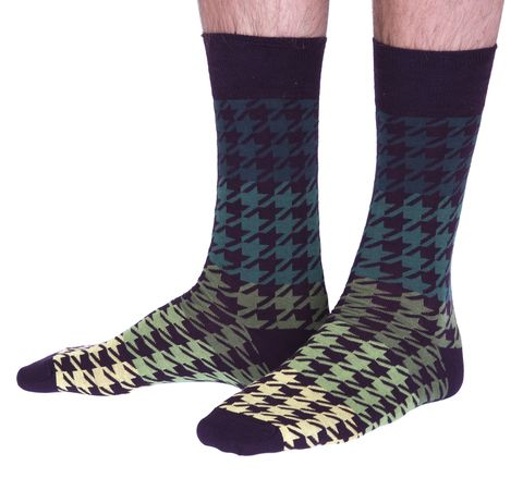 The Houndstooth luxury cotton dress sock in green | Made in Wales by Corgi
