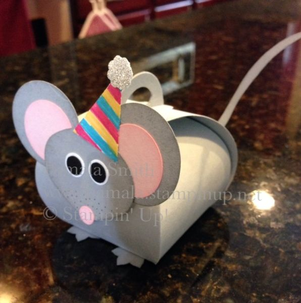 Cute little birthday mouse made with the Curvy Keepsake Box die.