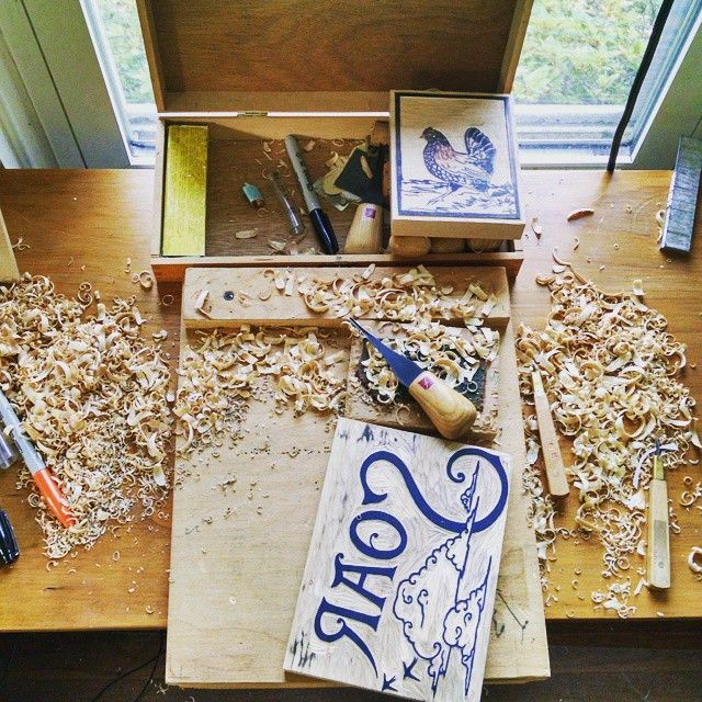 """""""The mess just means I'm busy. 3 blocks worth of wood chips #pileofcraftsneakpeeks #woodcut"""""""