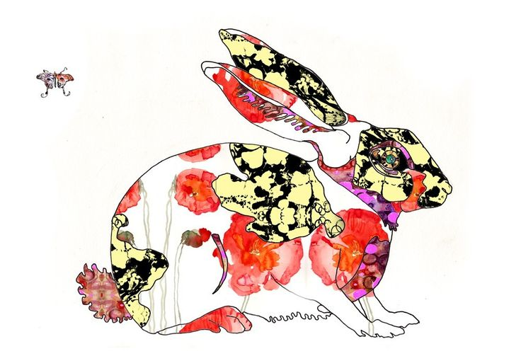 Reproduction à tirage limité vendue à: - Limited edition print sold at:    Year of the Rabbit- Art Print 13 x 19. $28,00, via Etsy.