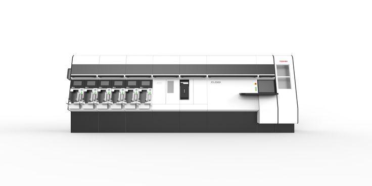 【銀行券鑑査機 FS-2000】 横方向の流れを意識した配色によりシンプル&クリーンなデザインです。鑑査・後処理ユニットの拡張を行った際にも、全体のイメージを保つことができます。