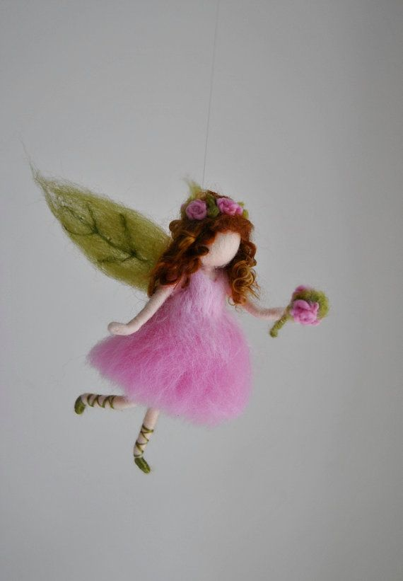 Girls Room Ornament Needle Felted wool mobile    : by MagicWool