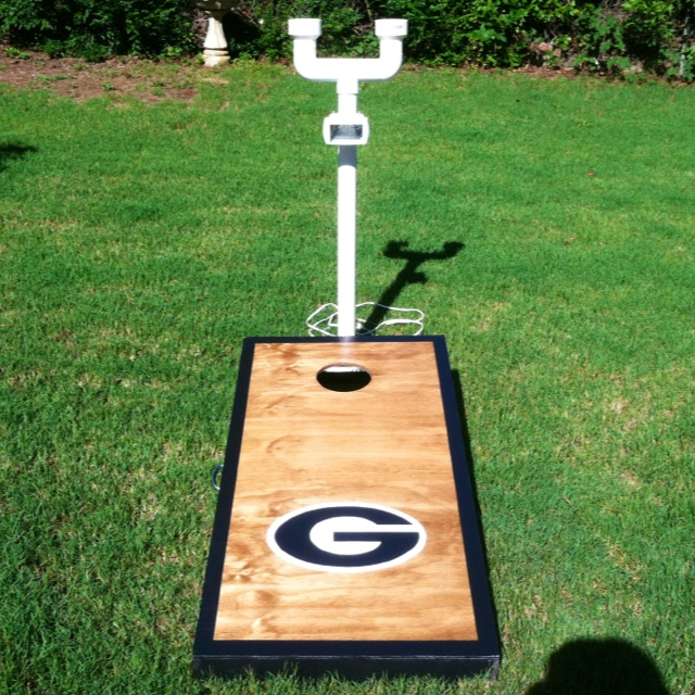 Cornhole drink holder/light combo for playing at night!