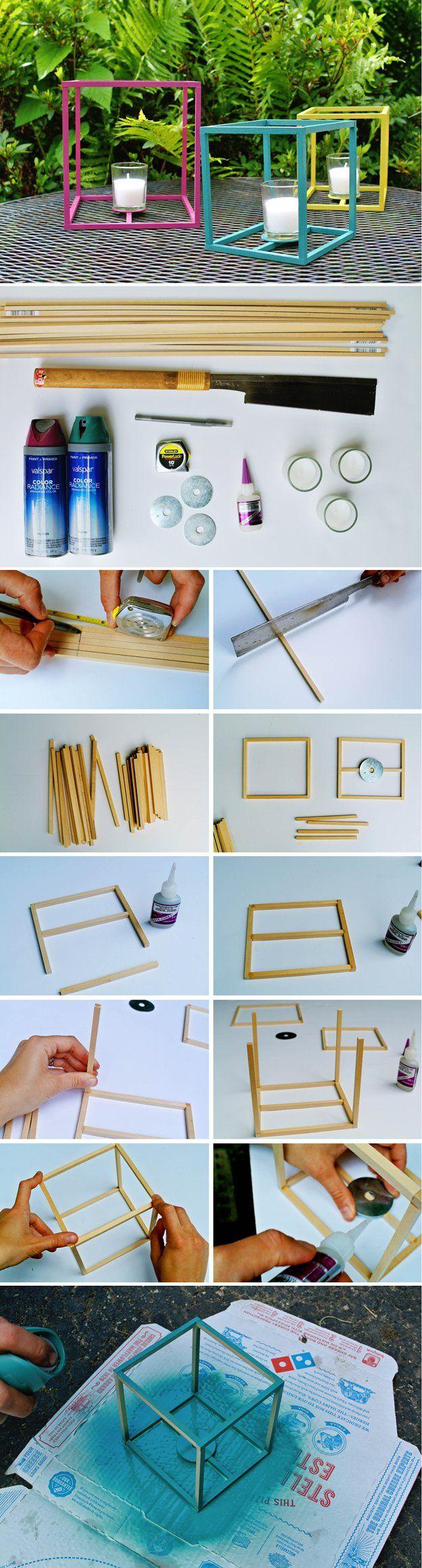 Easy DIY Outdoor Lantern Craft Project | DIY Outdoor Cube Lantern by DIY Ready at http://diyready.com/21-diy-outdoor-lantern-ideas/