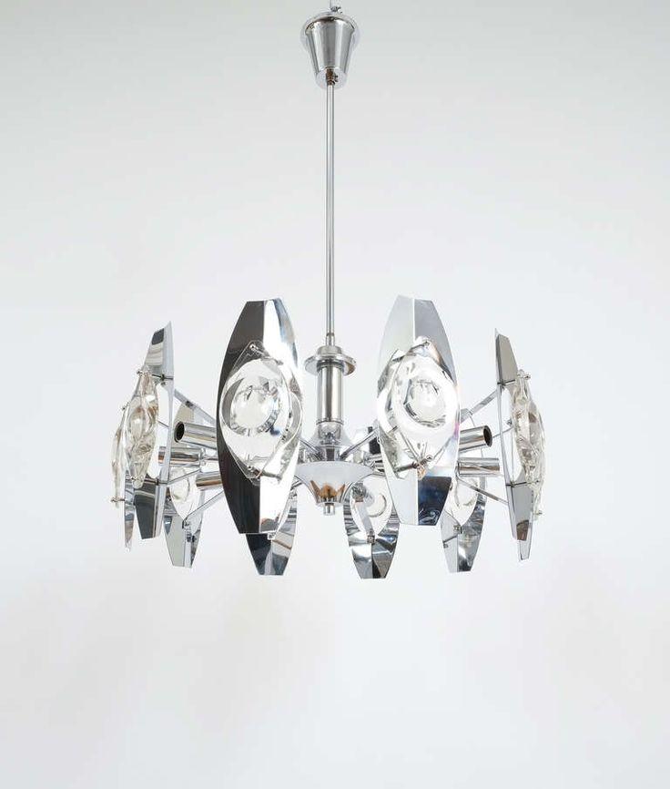 Gaetano Sciolari Impressive Chrome Glass Lens Chandelier Lamp , Italy 1960