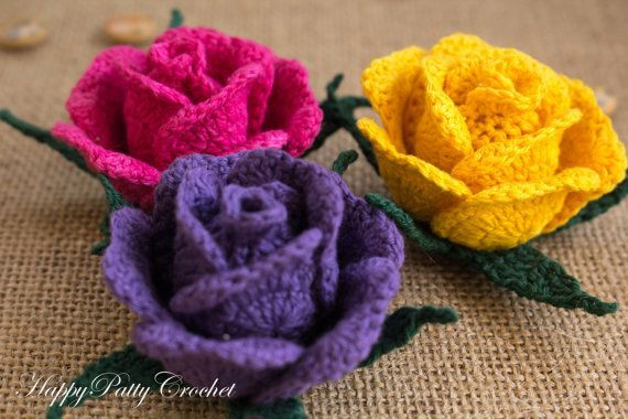 Crochet Flower Handmade Crochet Rose Hybrid by HappyPattyCrochet