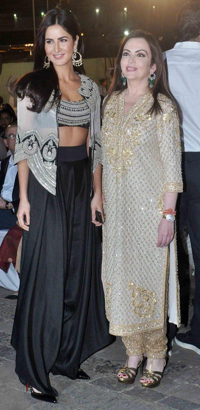 Katrina Kaif with Nita Ambani at the opening ceremony of the MAMI Film Festival. #Bollywood #MAMI2015 #Fashion #Style #Beauty #Hot #Desi