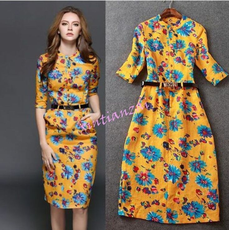 Womens Ethnic Cotton Dress Long Slim Casual Dresses Floral Belted Yellow Shirt