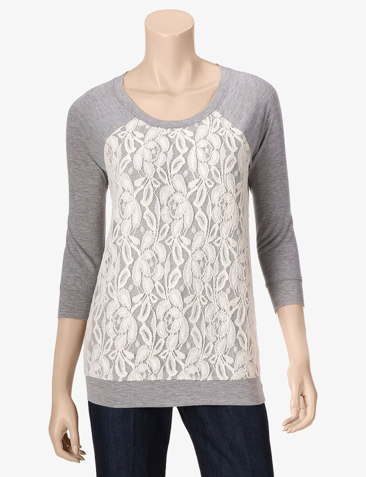 Hannah Lace Front Sweater – Misses  Stage Stores