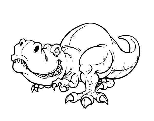 Dinosaurio Para Colorear Para Para 2 Saurios Para Online: Dibujo De Tyrannosaurus Rex Para Colorear