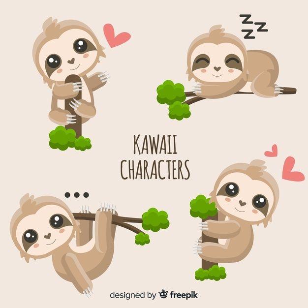 Cute Kawaii Characters Cute Baby Sloths Sloth Art Sloth Drawing