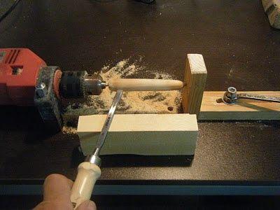 Lance ligero torno casero herramientas artesanales - Taladro de la madera ...