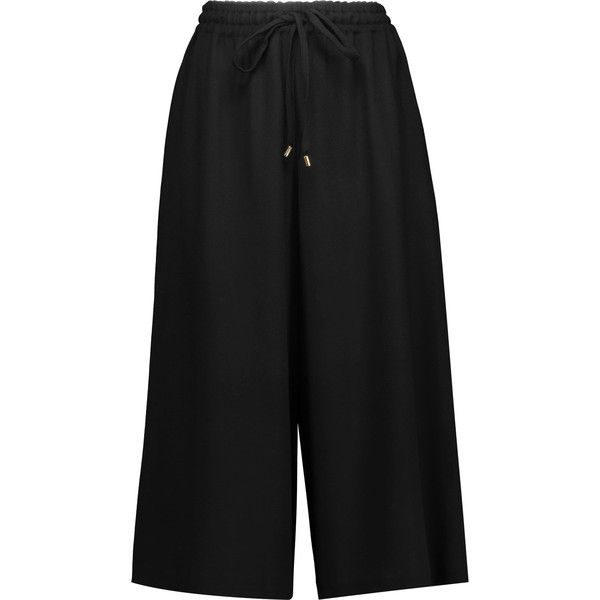 Vanessa Seward - Clemence Wool-blend Crepe Culottes (£160) ❤ liked on Polyvore featuring pants, capris, black, wool blend pants, crepe trousers, crepe pants, pull on pants and vanessa seward